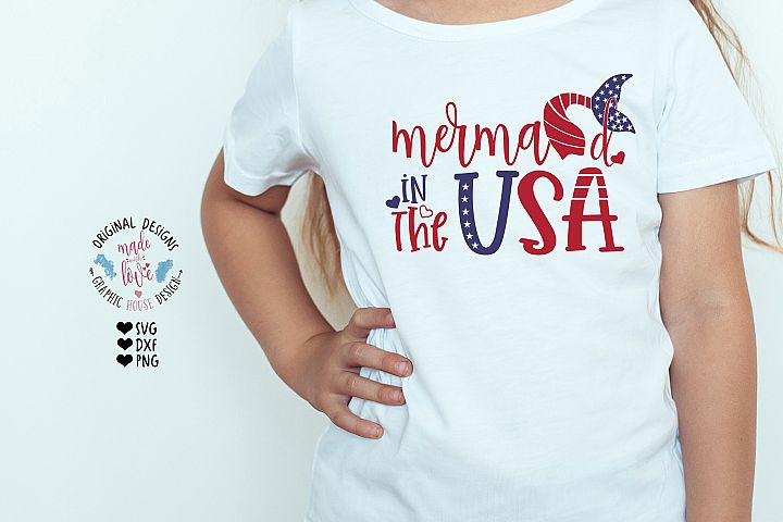 Mermaid in the USA - Girl Patriotic Independence Day SVG