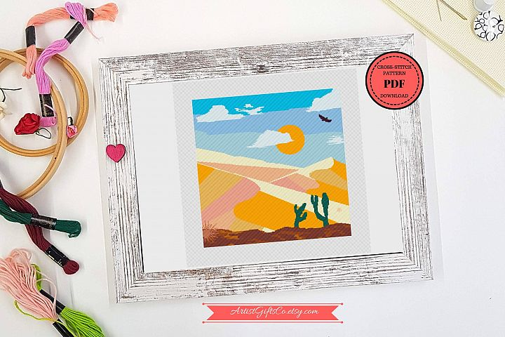 Desert landscape Cross stitch pattern PDF, Great Sand Dunes