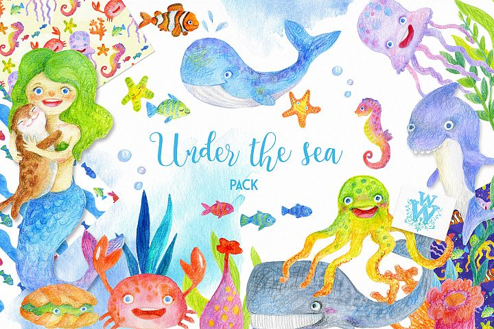 Watercolor Sea creatures clipart, ocean animal clip art