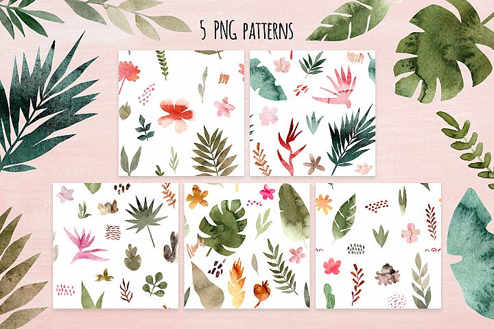 Tropical Collage. Patterns, Cliparts