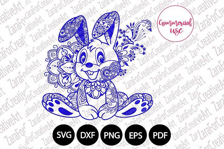 rabbit ,bunny mandala Zentangle svg