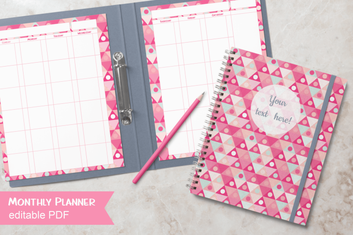 Pink Triangles Undated Planner Letter Size Editable PDF