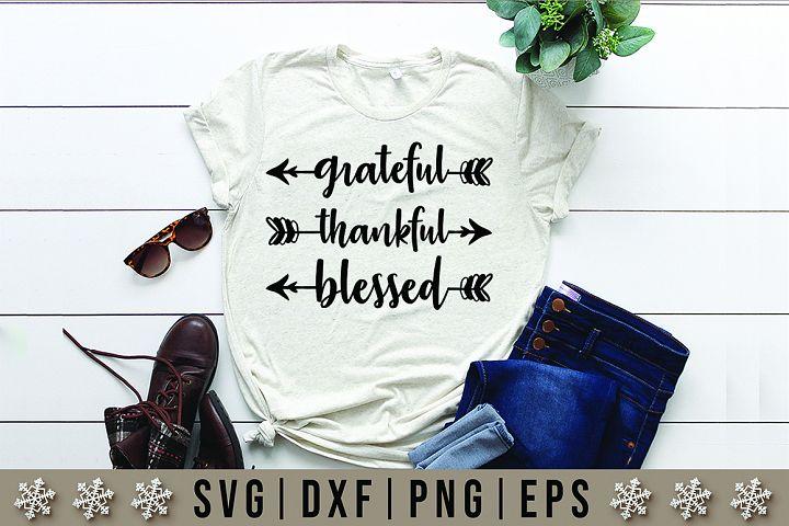Grateful Thankful Blessed Quotes SVG Design