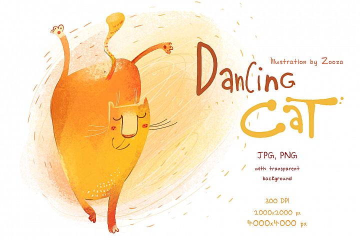 Dancing cat - illustration