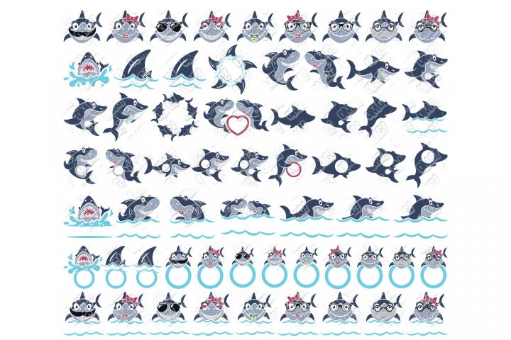 Shark Monogram SVG Bundle in SVG, DXF, PNG, EPS, JPEG