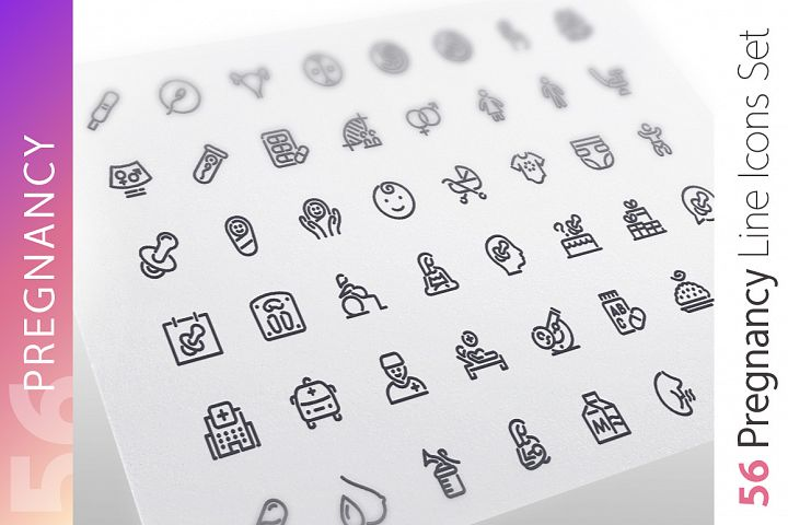 Pregnancy Line Icons Set