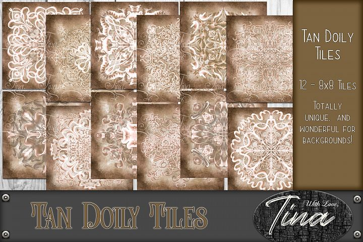 NEW Tan Doily Tiles Victorian Style Cards 8x8 inch Scroll