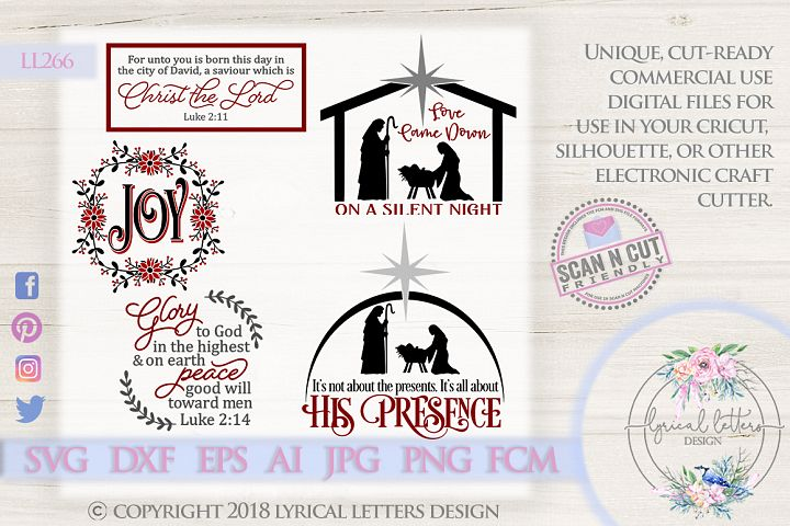 Religious Christmas Bundle of 5 SVG DXF FCM Cut Files LL266