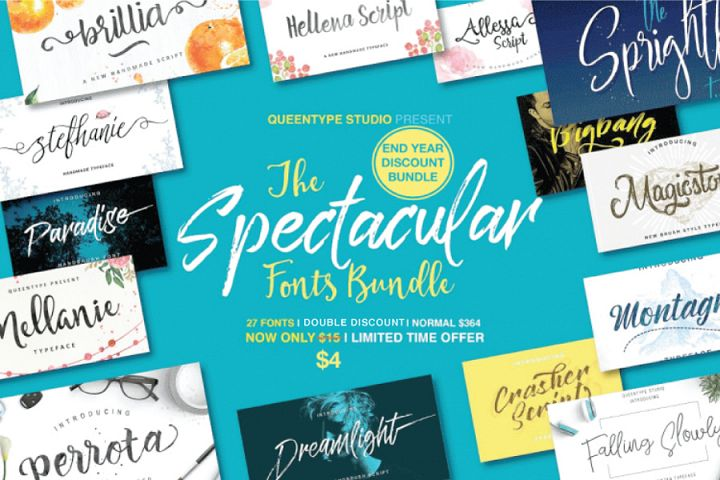 27 IN 1 FONT BUNDLE - 98% OFF (Double Discount)