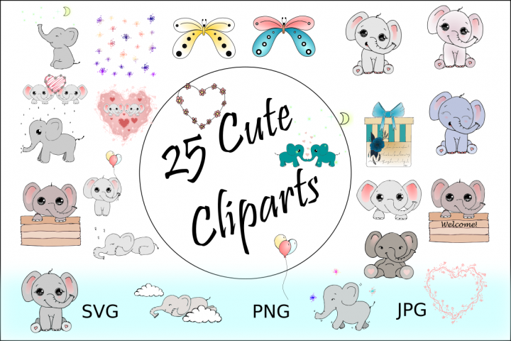 25 Cute Cliparts - Elephant Clipart Collection