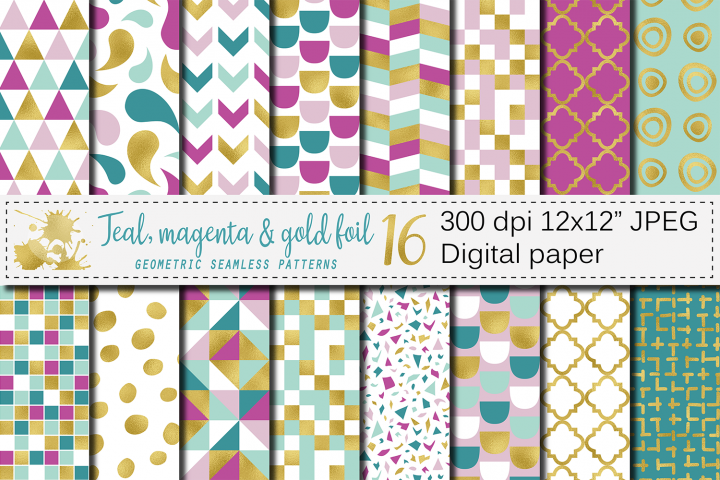 Teal, magenta and gold foil seamless geometric patterns