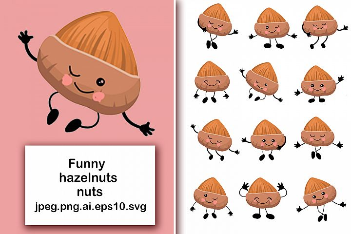 Hazelnuts nuts. Cute characters with human faces in differen