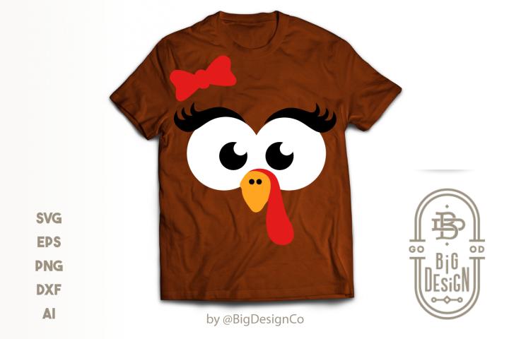 Girl Turkey Face SVG - Thanksgiving Svg
