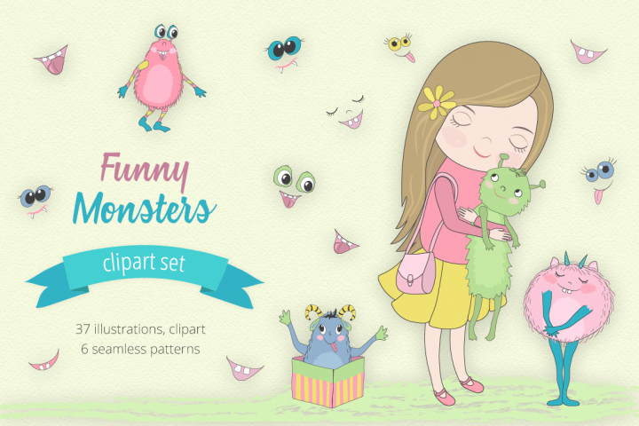 Funny Monsters Illustration Set