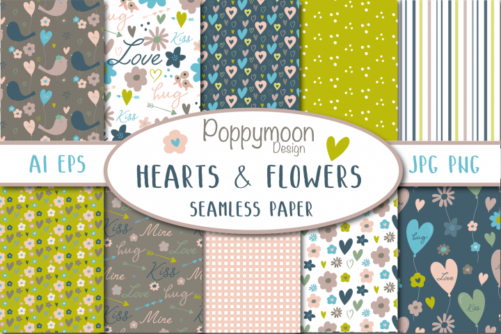 Hearts and flower seamless paper set