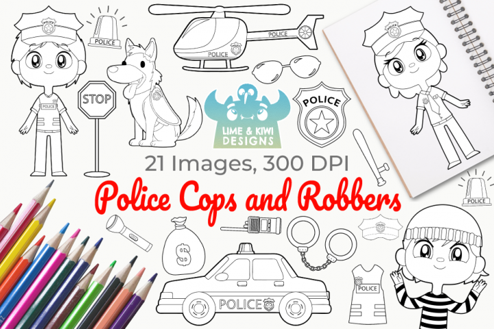 Police Cops and Robbers Digital Stamps