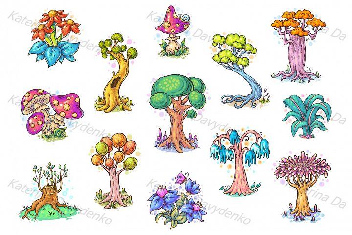 Set of different cartoon trees, vector illustration