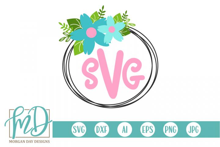 Wreath - Floral - Summer - Monogram SVG