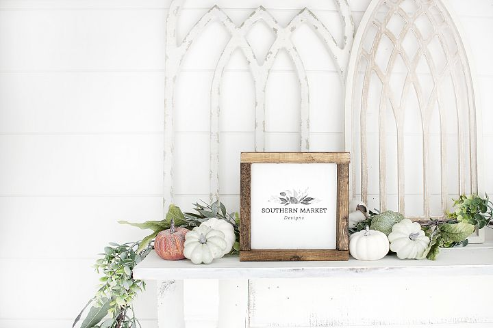 Fall Wood Framed Sign 6x6 Mock Up Photo Stock Photography