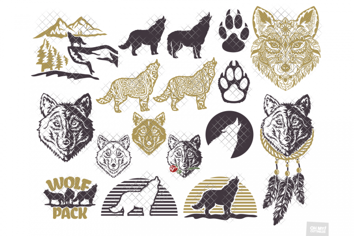 Wolf SVG Wolves Howl Silhouette in SVG, DXF, PNG, EPS, JPG