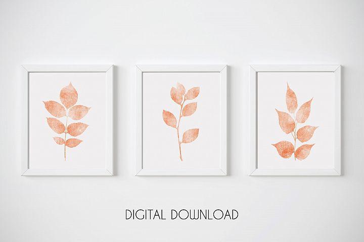 Coral Nursery Wall Art, Orange Botanical Print, Set of 3