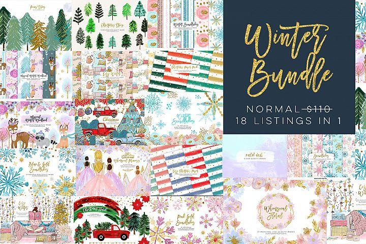 Winter bundle clip art, Christmas and Winter Bundle