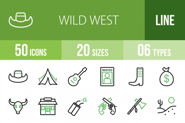 50 Wild West Line Green & Black Icons