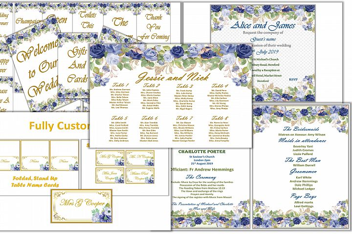 Wedding Stationery and signs Mega Bundle. Fully Customisable