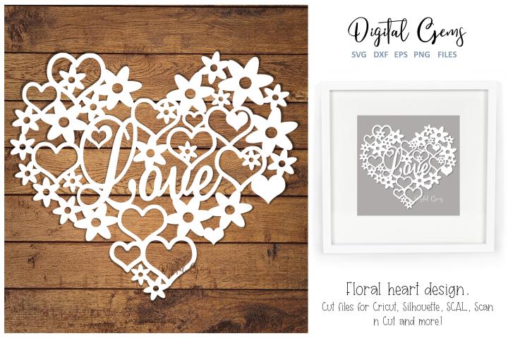 Love heart paper cut design. SVG / DXF / EPS / PNG files