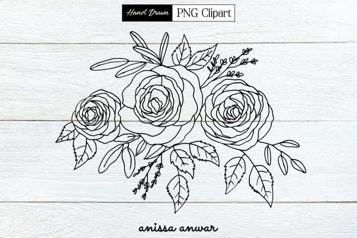 Flowers Bouquet Line Art, Png Clipart, Sublimation Printable
