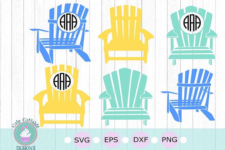 Adirondack Beach Chair Svg, Summer SVG Monogram Frame bundle