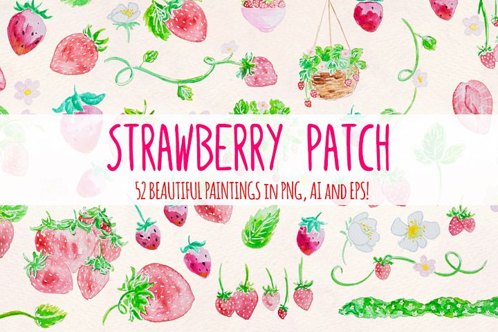 Strawberry Patch 52 Cute Watercolor Paintings