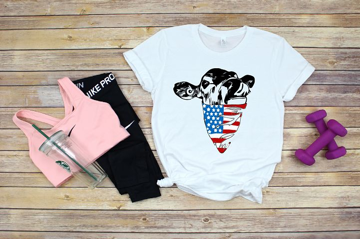 Cow USA Flag Bandana, cowboy 4th July Farm Milk 1403S