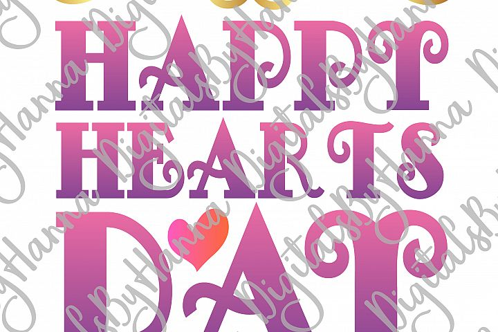Happy Hearts Day Valentine's Sign Print & Cut File PNG SVG example image 2