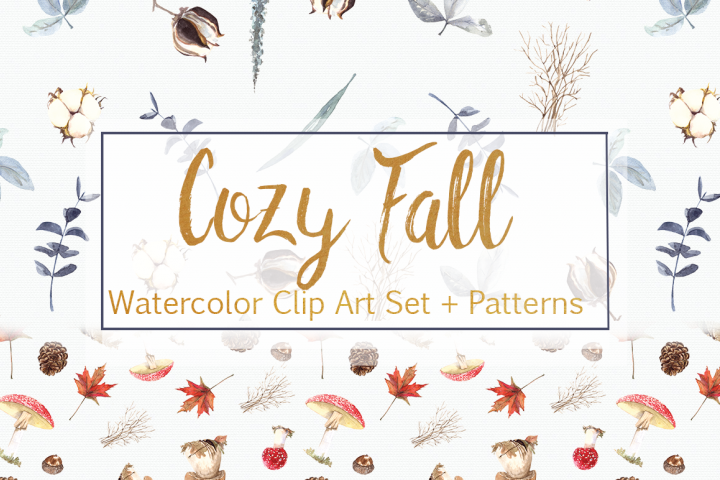 Watercolor Cozy Fall Clip Art Set and Patterns