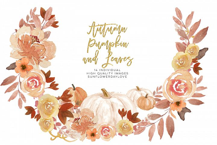 Autumn Wreath Pumpkin and leaves clipart
