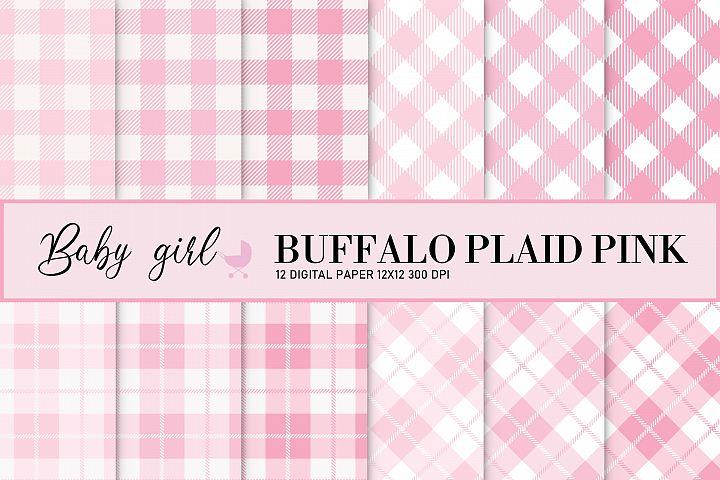 Baby girl - baby shower girl - buffalo plaid pink