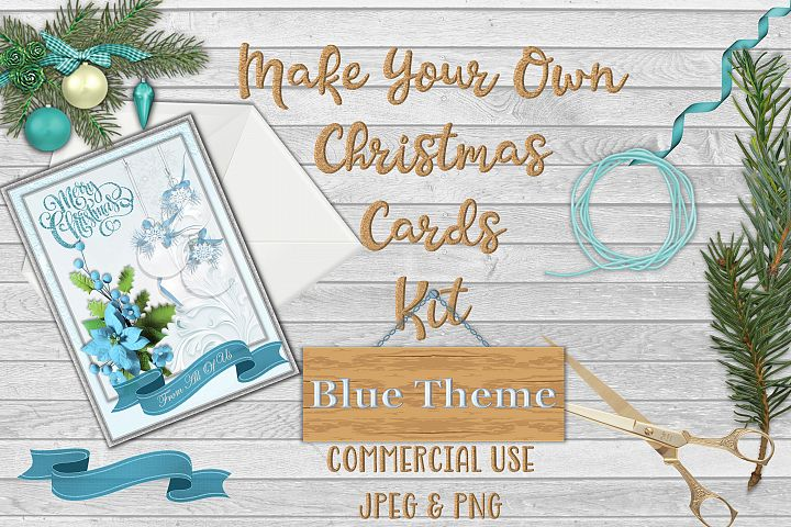 Christmas Card Making Kit with free clipart example