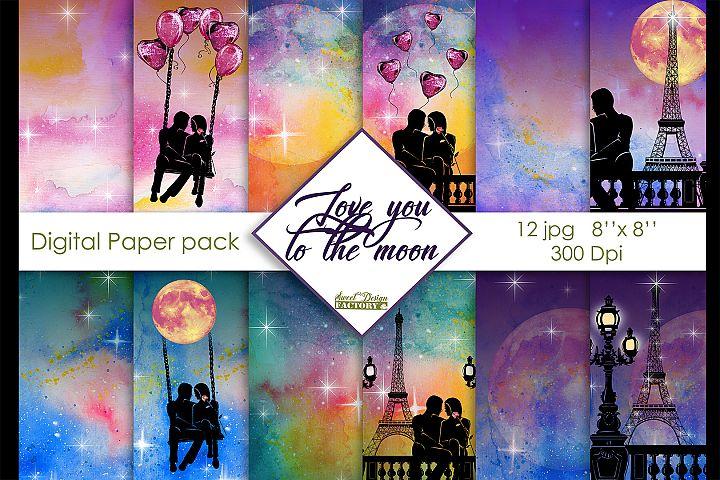 Love digital paper pack