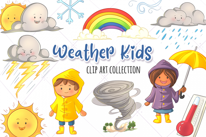Cute Weather Kids Clip Art Collection