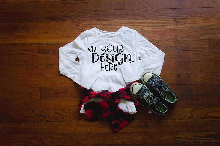 Youth girls white long sleeve shirt, buffalo plaid, mockup
