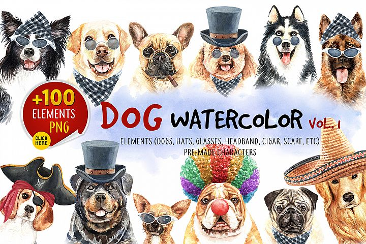 Dog watercolor.Animal Clip art. Dog watercolor painted Vol.1