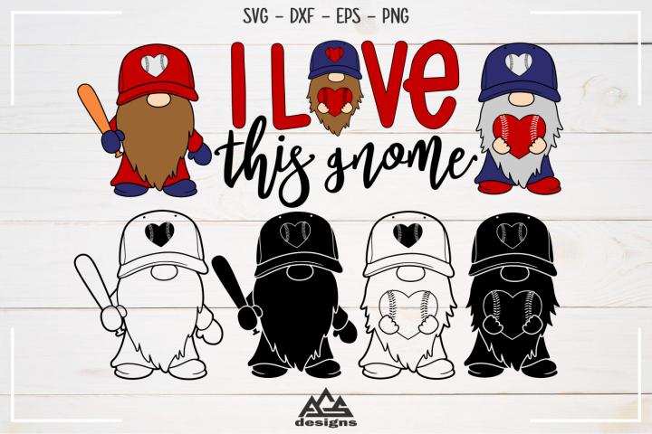 Baseball - Love This Gnome - Sport Svg Design