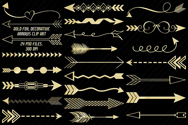 Gold Foil Decorative Arrows Clip Art