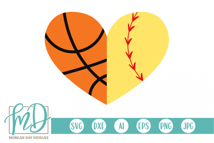 Basketball Softball Heart SVG, DXF, AI, EPS, PNG, JPEG