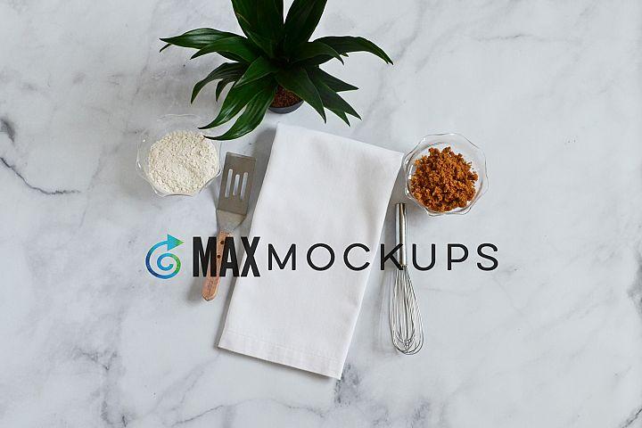 White kitchen tea towel Mockup, product display