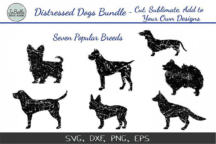 Distressed Dogs SVG Bundle- Popular Dog Breed Grunge Designs