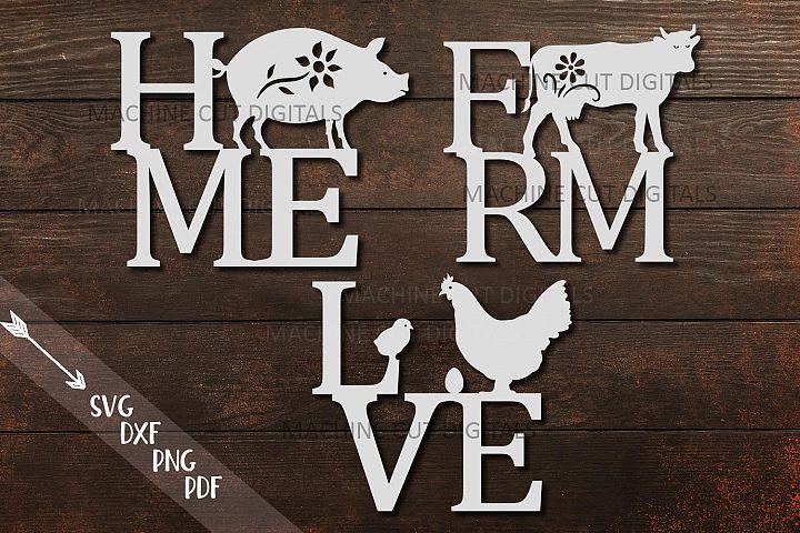 Home Love Farm sign bundle farmhouse style laser cut out svg