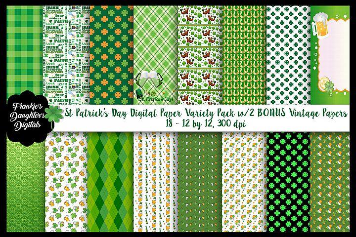 St Patricks Day Variety Digital Paper Pack