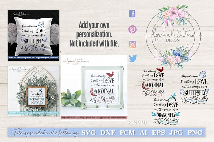NEW! Cardinal Butterfly Dragonfly Memorial Set SVG LL283
